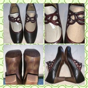 NAOT LUMA Brown Mary Jane HEELS SHOES SZ 39-8/8.5